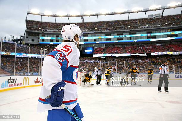David Desharnais of the Montreal Canadiens looks on in the second period against the Boston Bruins during the 2016 Bridgestone NHL Winter Classic at...