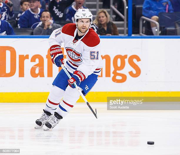 David Desharnais of the Montreal Canadiens skates against the Tampa Bay Lightning at the Amalie Arena on December 28 2015 in Tampa Florida