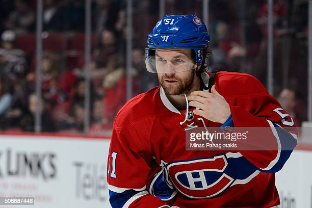David Desharnais of the Montreal Canadiens skates during the NHL game against the Buffalo Sabres at the Bell Centre on February 3 2016 in Montreal...