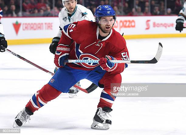 David Desharnais of the Montreal Canadiens skates for position against the San Jose Sharks in the NHL game at the Bell Centre on December 15 2015 in...