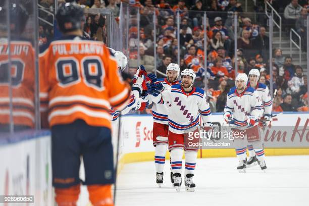 David Desharnais of the New York Rangers celebrates a goal against the Edmonton Oilers at Rogers Place on March 3 2018 in Edmonton Canada