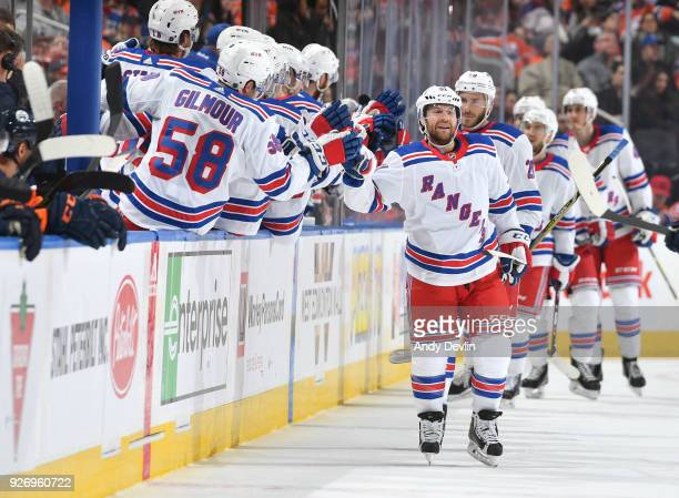 David Desharnais of the New York Rangers celebrates after a goal during the game against the Edmonton Oilers on March 3 2018 at Rogers Place in...