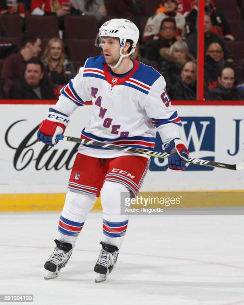 David Desharnais of the New York Rangers during a game against the Ottawa Senators at Canadian Tire Centre on December 13 2017 in Ottawa Ontario...