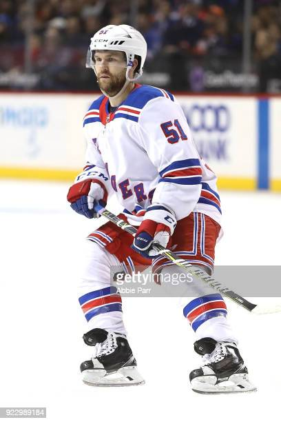 David Desharnais of the New York Rangers reacts in the third period against the New York Islanders during their game at Barclays Center on February...