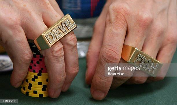 David 'Devilfish' Ulliott competes on the second day of the first round of the World Series of Poker nolimit Texas Hold 'em main event at the Rio...