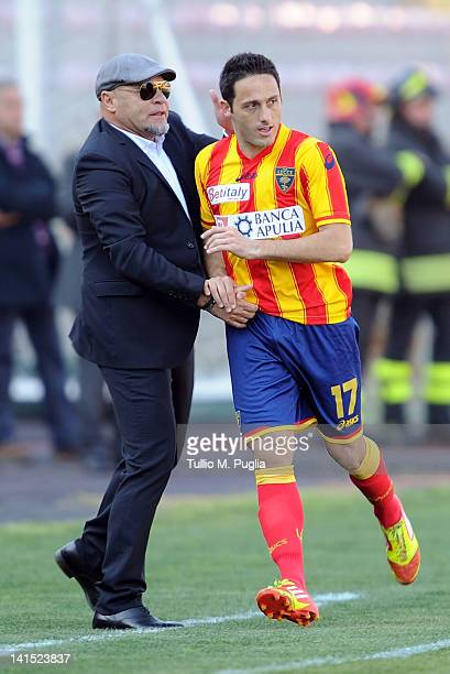 David Di Michele of Lecce celebrates with Coach Serse Cosmi after scoring a penalty during the Serie A match between US Lecce and US Citta di Palermo...