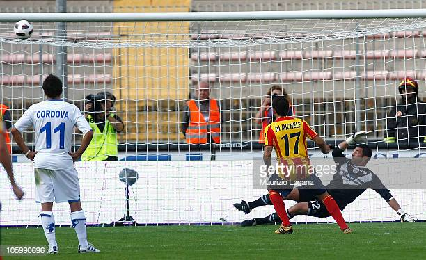 David Di Michele of Lecce misses a penalty during the Serie A match between Lecce and Brescia Calcio at Stadio Via del Mare on October 24 2010 in...