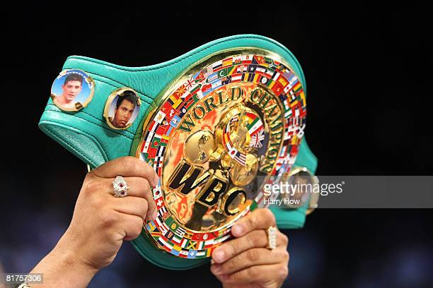 David Diaz loses his belt to Manny Pacquiao of the Phillippines after a ninth round knockout during the WBC Lightweight Championship at the Mandalay...