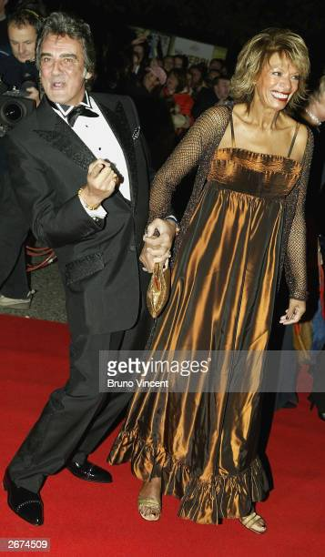 David Dickinson and wife arrive at the National Television Awards at the Royal Albert Hall on October 28 2003 in London