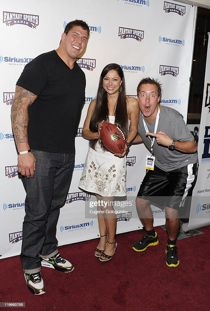 David Diehl, Pilar Lastra and Scott Ferrall attend the 2011 SiriusXM Celebrity Fantasy Football Draft at the Hard Rock Cafe, Times Square on July 28, 2011 in New York City.