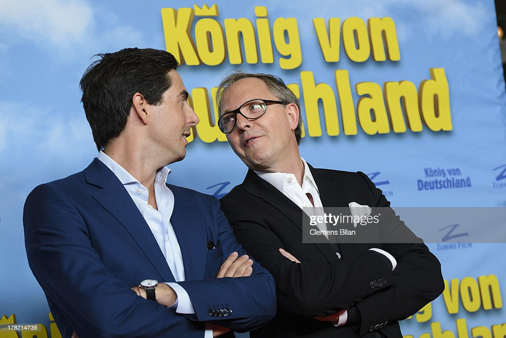 David Dietl (L) and Olli Dittrich attend the 'Koenig von Deutschland' Berlin premiere at Kino International on August 27, 2013 in Berlin, Germany.