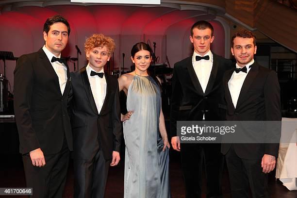 David Dietl Johannes Nussbaum Helen Woigk Jannis Niewoehner Edin Hasanovic New Faces reception during the German Filmball 2015 at Hotel Bayerischer...