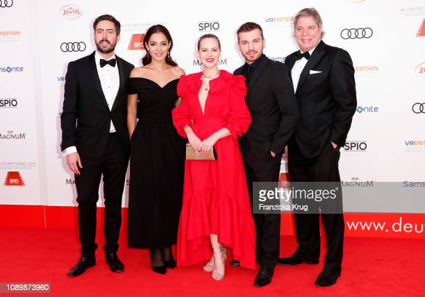 David Dietl, Nilam Farooq, Alicia von Rittberg, Edin Hasanovic and Thomas Peter Friedl during the 46th German Film Ball at Hotel Bayerischer Hof on...