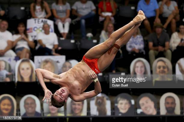 David Dinsmore competes in the men's 10-meter platform final during 2021 U.S. Olympic Trials - Diving - Day 7 at Indiana University Natatorium on...