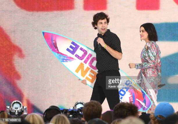 David Dobrik and Lucy Hale onstage during FOX's Teen Choice Awards 2019 on August 11 2019 in Hermosa Beach California