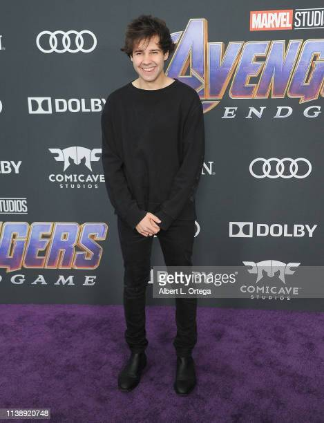 David Dobrik arrives for the World Premiere Of Walt Disney Studios Motion Pictures Avengers Endgame held at Los Angeles Convention Center on April 22...