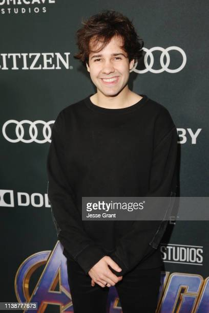 David Dobrik attends the Los Angeles World Premiere of Marvel Studios' Avengers Endgame at the Los Angeles Convention Center on April 23 2019 in Los...