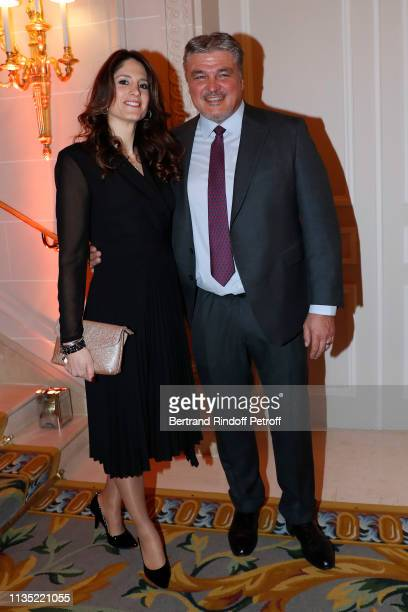 David Douillet and his wife Vanessa Carrara attend the Stethos d'Or 2019 Charity Gala of the Foundation for Physiological Research at on March 11...