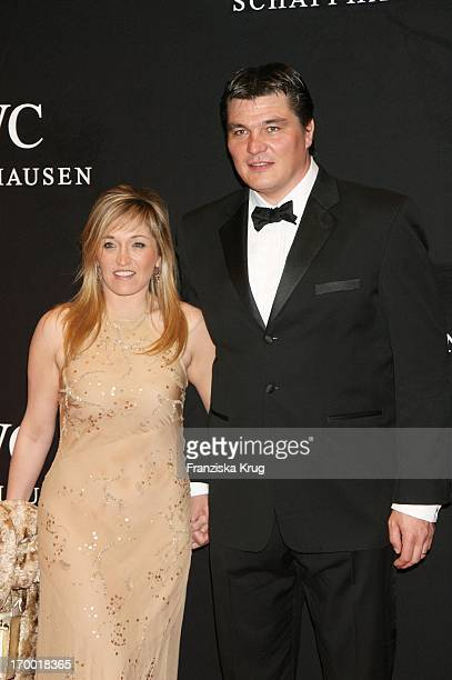 David Douillet and wife Valerie at the Iwc Grande Soiree Aviateur On of the SIHH in Geneva International Airport