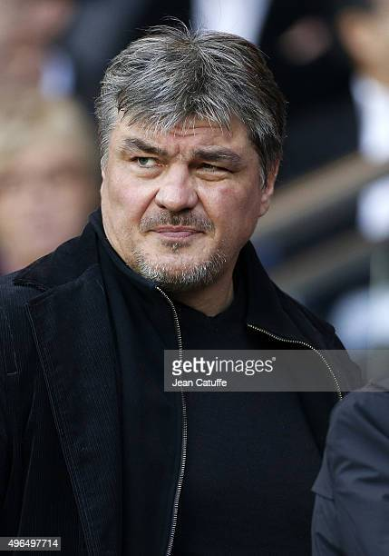 David Douillet attends the French Ligue 1 match between Paris SaintGermain and Toulouse FC at Parc des Princes stadium on November 7 2015 in Paris...
