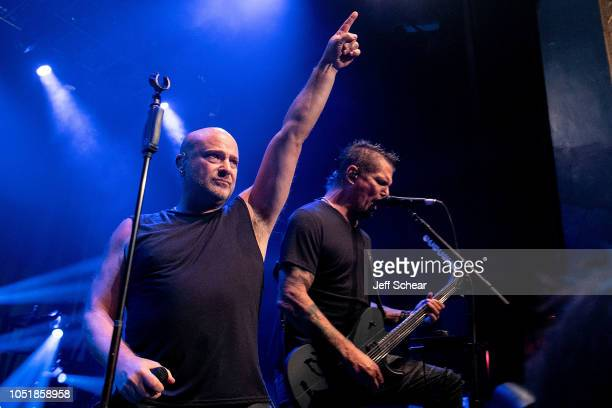 David Draiman and Dan Donegan of Disturbed peform at SiriusXM Presents Disturbed Live From The Vic Theatre In Chicago on October 10 2018 in Chicago...