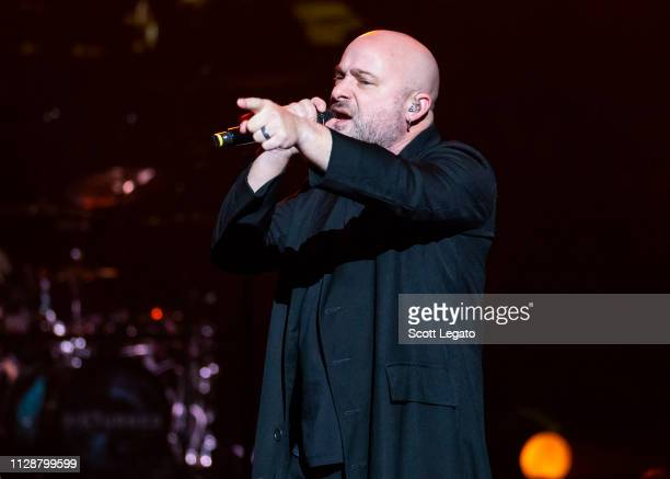 David Draiman of Disturbed performs at Little Caesars Arena on March 05 2019 in Detroit Michigan