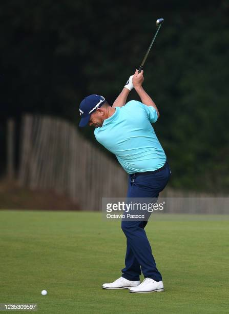 David Drysdale of England plays his second shot at the 9th hole during Day Two of the Dutch Open at Bernardus Golf on September 17, 2021 in...