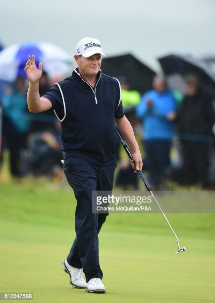 David Drysdale of Scotland reacts after completing his course record final round at the Dubai Duty Free Irish Open hosted by the Rory Foundation at...