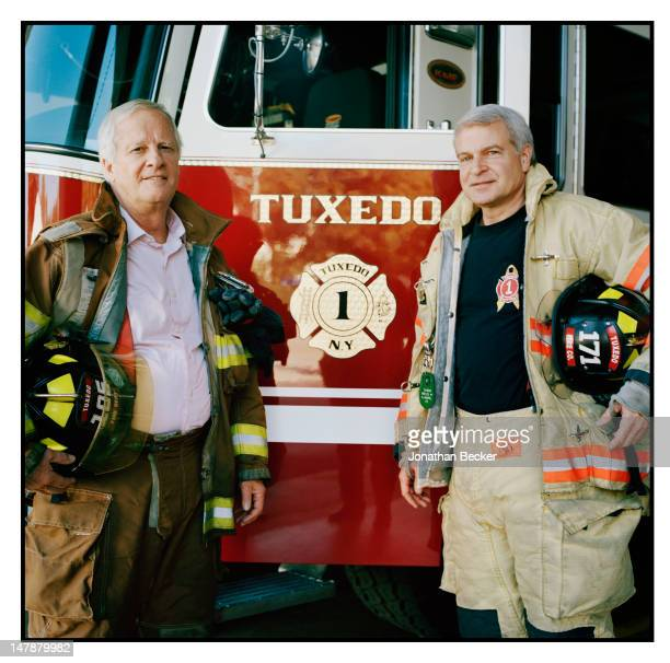 David du Pont and Gardiner Hempel, treasurer and president of the Tuxedo Park Fire Department, are photographed for Town & Country Magazine on...