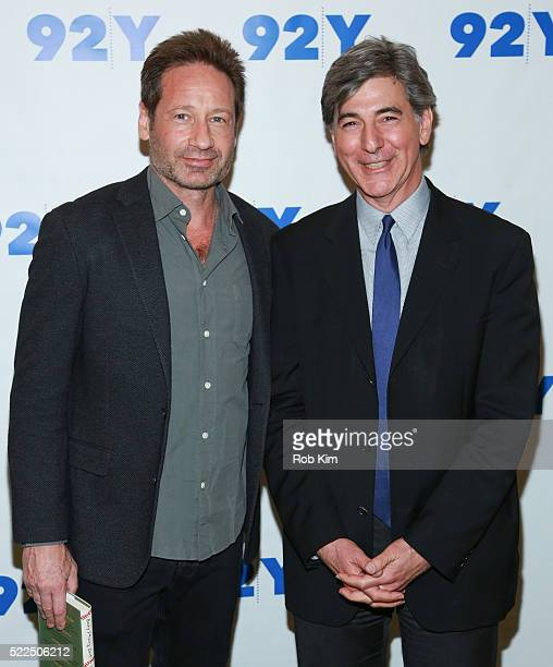 David Duchovny and Budd Mishkin attend 92Y Talks at Kaufman Concert Hall at the 92Y on April 19 2016 in New York City
