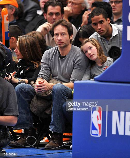 David Duchovny and daughter Madelaine Duchovny attend the Miami Heat vs New York Knicks game at Madison Square Garden on January 27 2011 in New York...