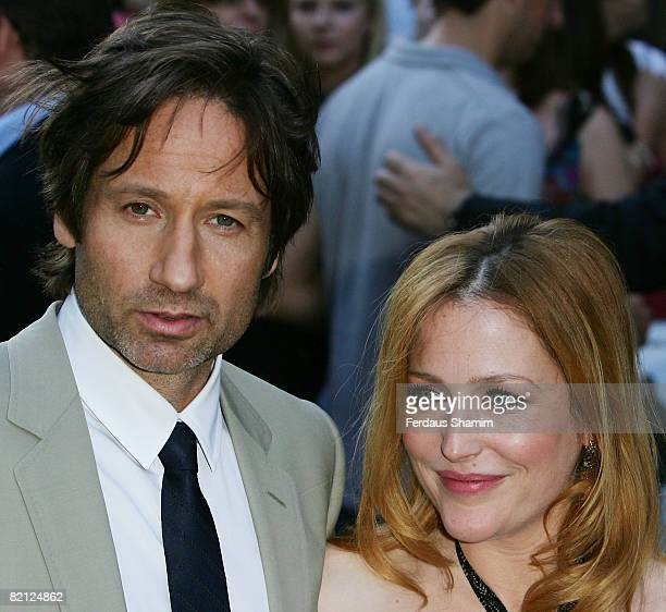 David Duchovny and Gillian Anderson attends the UK premiere of The XFiles I Want To Believe at Empire Leicester Square on July 30 2008 in London...