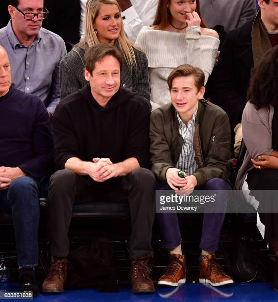 David Duchovny and Kyd Miller Duchovny attend Cleveland Cavaliers Vs New York Knicks game at Madison Square Garden on February 4 2017 in New York City