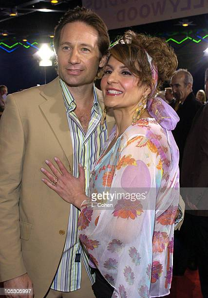 "David Duchovny and Nia Vardalos during ""Connie and Carla"" World Premiere - Red Carpet at Universal Studios Cinema in Universal City, California,..."