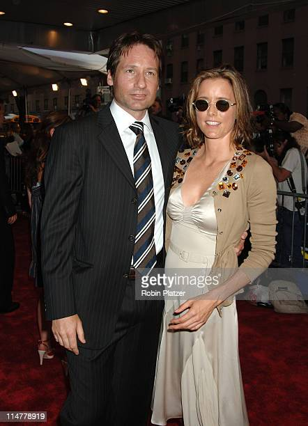 David Duchovny and wife Tea Leoni during Trust the Man New York Premiere Outside Arrivals at Chelsea West Theatre in New York City New York United...