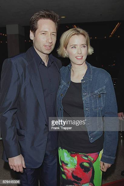David Duchovny arrives at the movie premiere with his wife the actress Tea Leoni