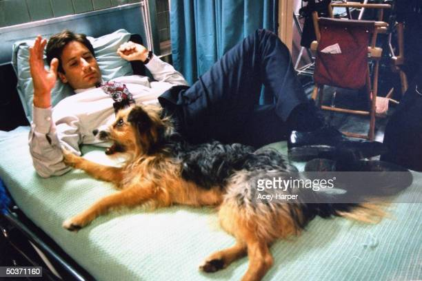 David Duchovny costar of cult hit TV series The XFiles lying on bed w pet dog in between filming on the set of the show