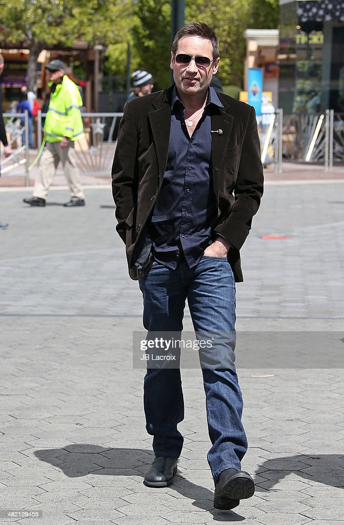 David Duchovny is seen on the set of Extra on April 2, 2014 in Los Angeles, California.