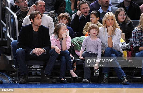 David Duchovny Madelaine Duchovny Kyd Duchovny and Tea Leoni attend Detroit Pistons vs New York Knicks game at Madison Square Garden on December 7...