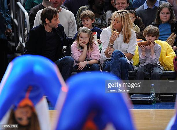 David Duchovny Madelaine Duchovny Tea Leoni and Kyd Duchovny attend Detroit Pistons vs New York Knicks game at Madison Square Garden on December 7...