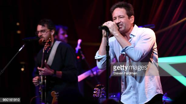 David Duchovny performs on stage during the 2018 Tribeca Film Festival at Public Hotel on April 22 2018 in New York City