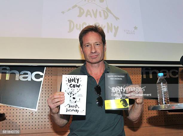 David Duchovny presents his book 'Holy Cow' on May 14, 2016 in Barcelona, Spain.