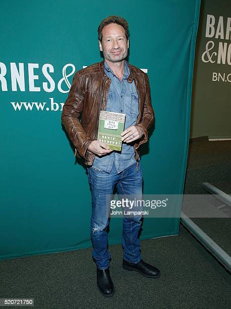 David Duchovny signs copies of 'Bucky F*cking Dent' at Barnes Noble Union Square on April 12 2016 in New York City