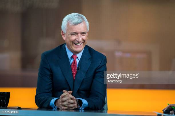 David Duffy chief executive officer of CYBG Plc reacts during a Bloomberg Television interview in London UK on Tuesday May 15 2018 CYBG Plc agreed to...