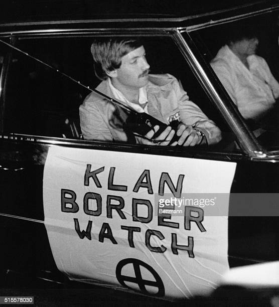 David Duke leader of the Ku Klux Klan patrols the CaliforniaMexico border for illegal immigants in a Klan Boder Watch automobile | Location Dulzura...