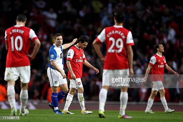 David Dunn of Blackburn consoles Cesc Fabregas of Arsenal during the Barclays Premier League match between Arsenal and Blackburn Rovers at the...