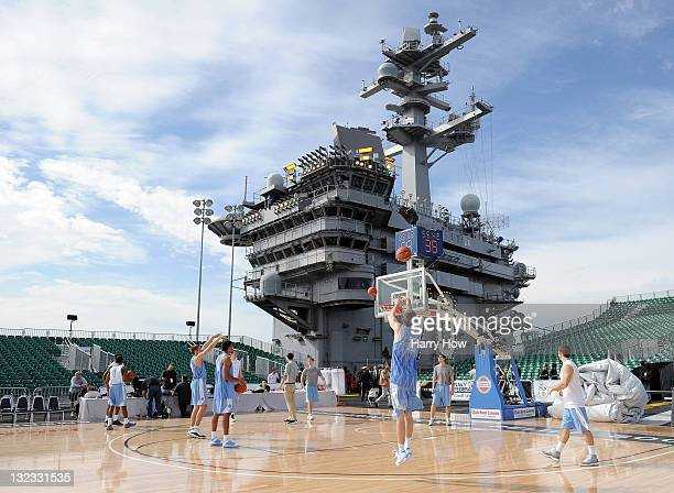 David Dupont of the North Carolina Tar Heels shoots a jumper in practice during the Quicken Loans Carrier Classic on board the USS Carl Vinson on...