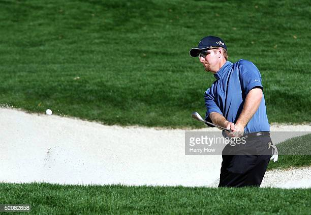 David Duval hits out of the bunker on the 16th hole during the fourth round of the Bob Hope Classic at the La Quinta Country Club on January 29 2005...