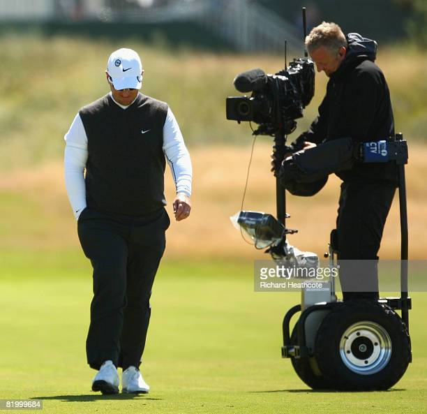 David Duval of USA is watched by a cameraman during the third round of the 137th Open Championship on July 19 2008 at Royal Birkdale Golf Club...