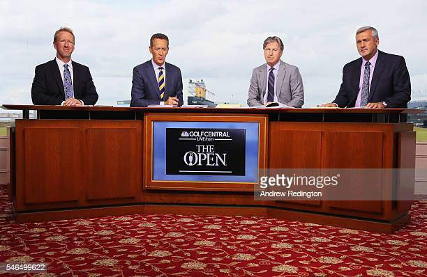 David Duval Rich Lerner Brandel Chamblee and Frank Nobilo are seen on the Golf Channel set ahead of the 145th Open Championship at Royal Troon on...